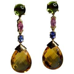 Multigem Earrings, 18 Carat Yellow Gold, Peridot, Sapphires, Diamond and Citrine