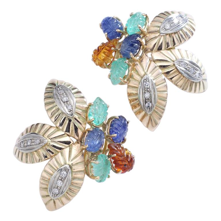 Multigem Engraved Leaves Yellow and White Gold Earrings Earclips For Sale