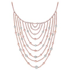 Multilayer Flapper Bib Necklace 7.48 Carat Diamond Necklace in 18 Karat Gold