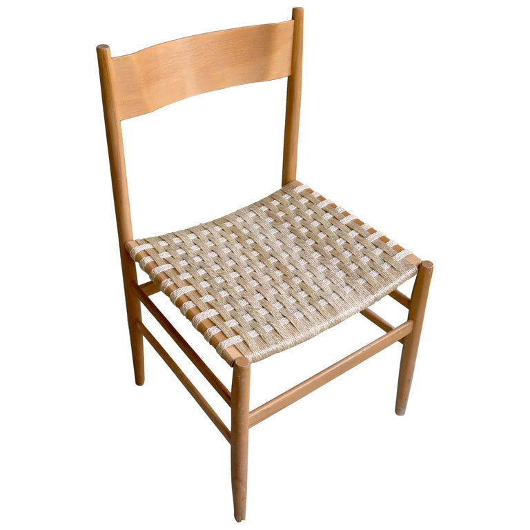 "Multiple Ashwood ""Leggera"" Chairs with Woven Seats, Italy, 1955 For Sale"