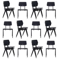 Multiple Industrial Galvanitas S21 Stackable Dining Chairs in Black, Netherlands