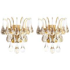 Multiple Palwa Murano Glass Tear Drop Sconces Refurbished Gold Brass, 1960