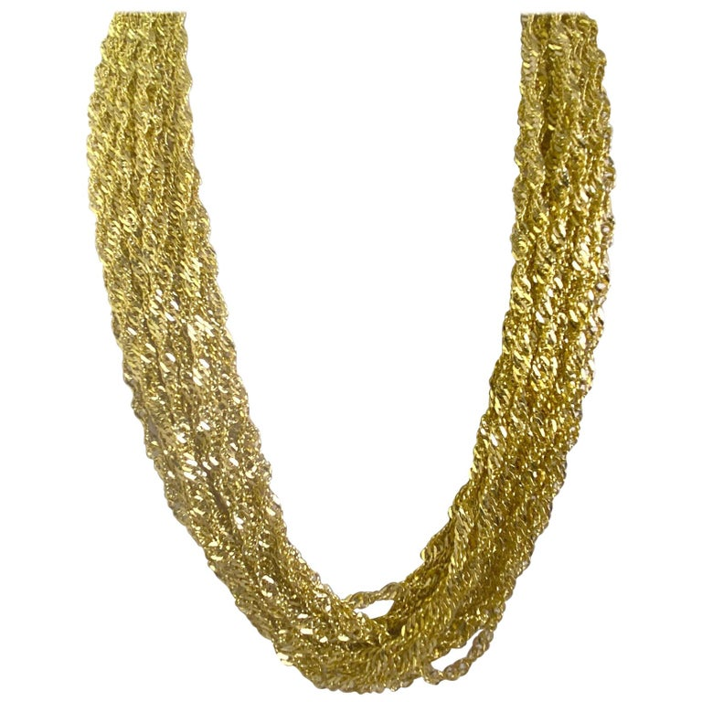 Multiple Strand 14 Karat Yellow Gold Chain Necklace For Sale