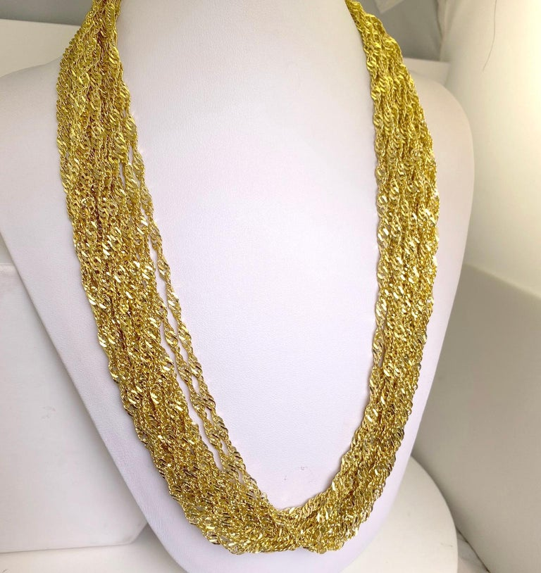 Modern Multiple Strand 14 Karat Yellow Gold Chain Necklace For Sale