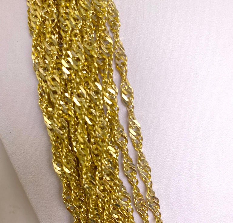 Multiple Strand 14 Karat Yellow Gold Chain Necklace In Good Condition For Sale In Daytona Beach, FL