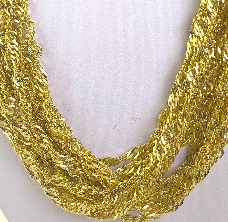 Women's Multiple Strand 14 Karat Yellow Gold Chain Necklace For Sale