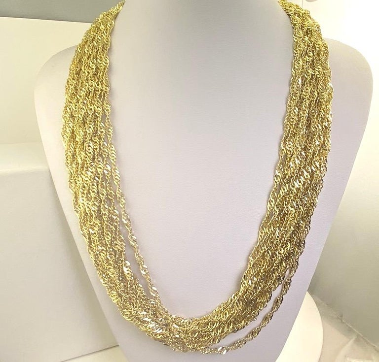 Multiple Strand 14 Karat Yellow Gold Chain Necklace For Sale 2