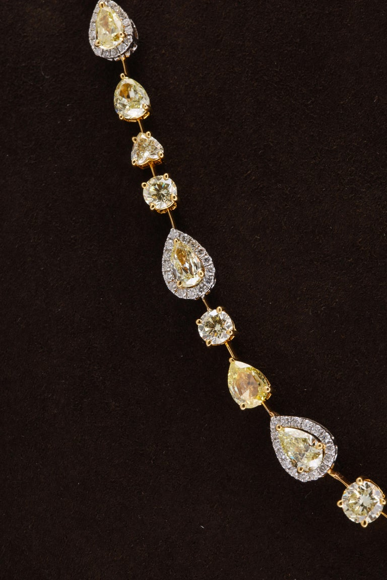 Women's or Men's Multishape Yellow and White Diamond Necklace For Sale
