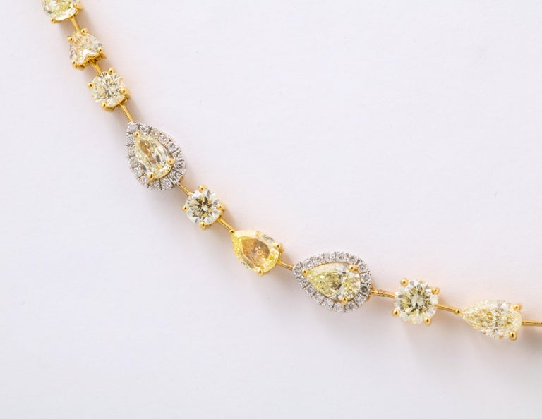 Multishape Yellow and White Diamond Necklace For Sale 1