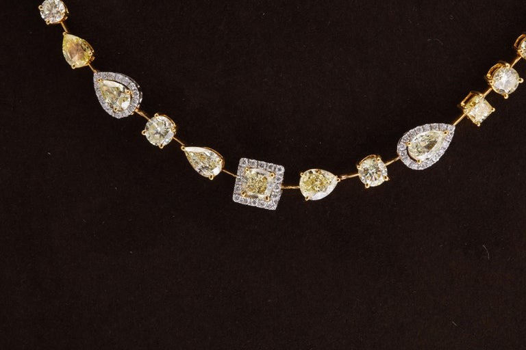 Multishape Yellow and White Diamond Necklace For Sale 2