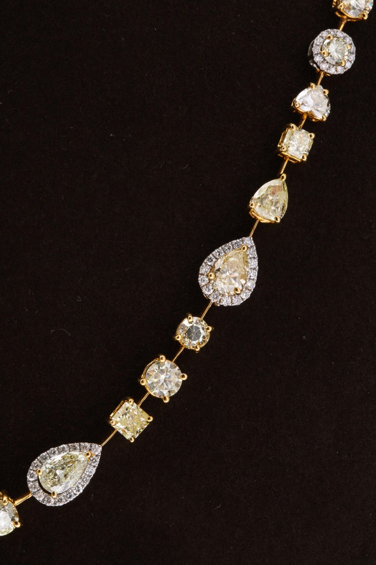 Multishape Yellow and White Diamond Necklace For Sale 3