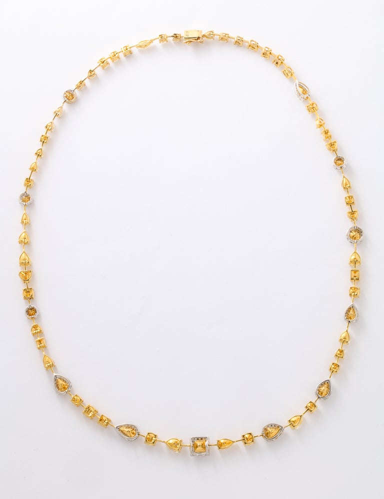 Multishape Yellow and White Diamond Necklace For Sale 4