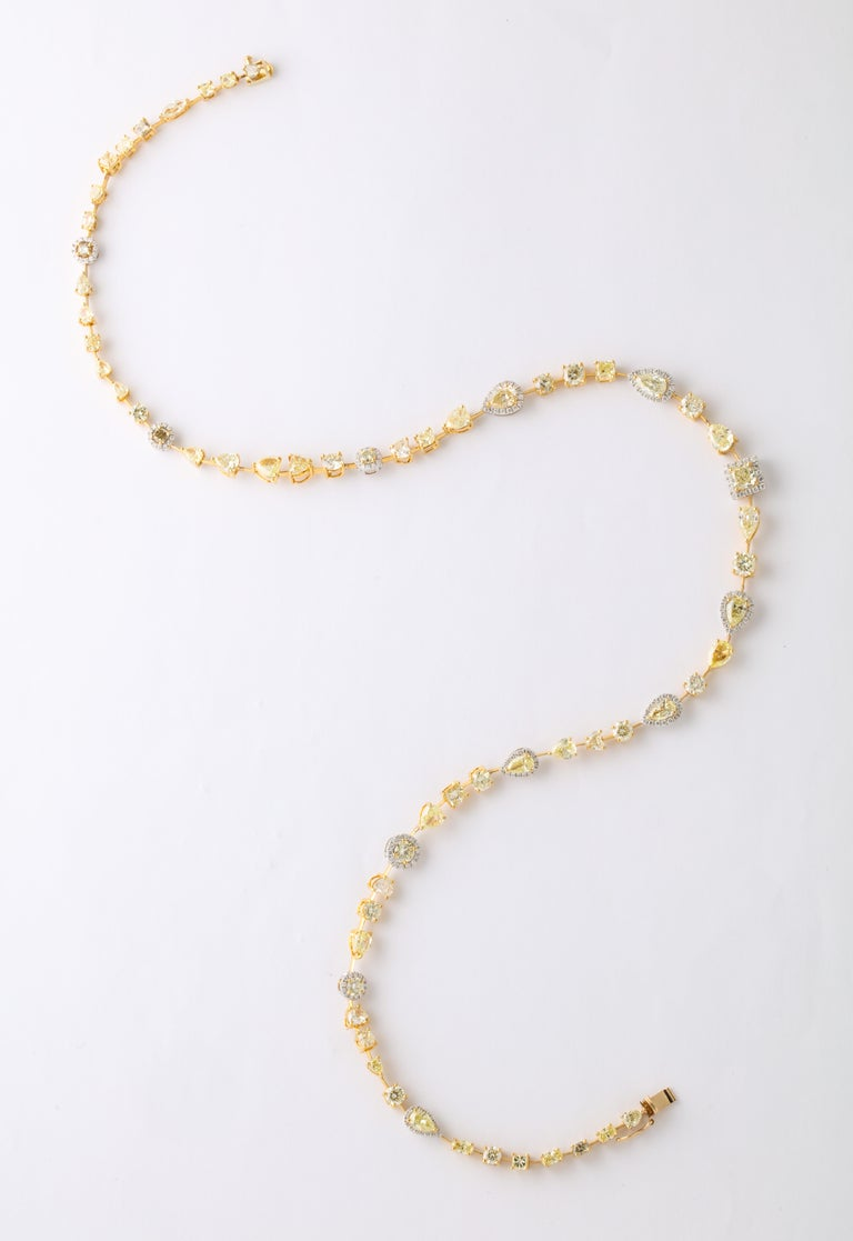 Multishape Yellow and White Diamond Necklace For Sale 5
