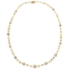 Multishape Yellow and White Diamond Necklace
