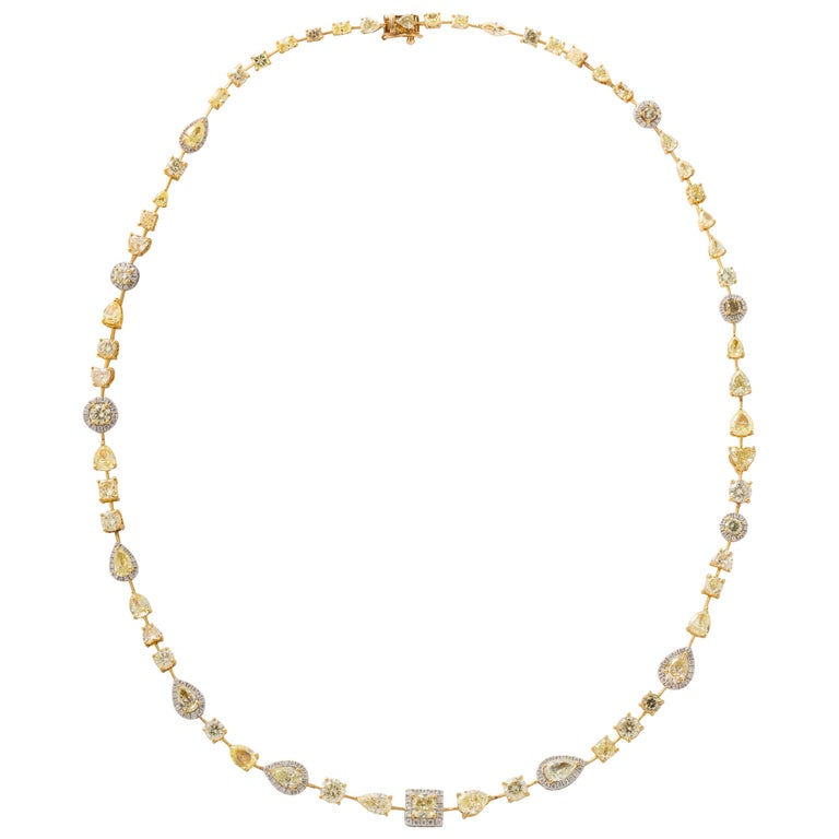 Multishape Yellow and White Diamond Necklace For Sale