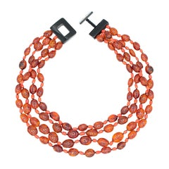 Multistrand Amber and Coral Necklace
