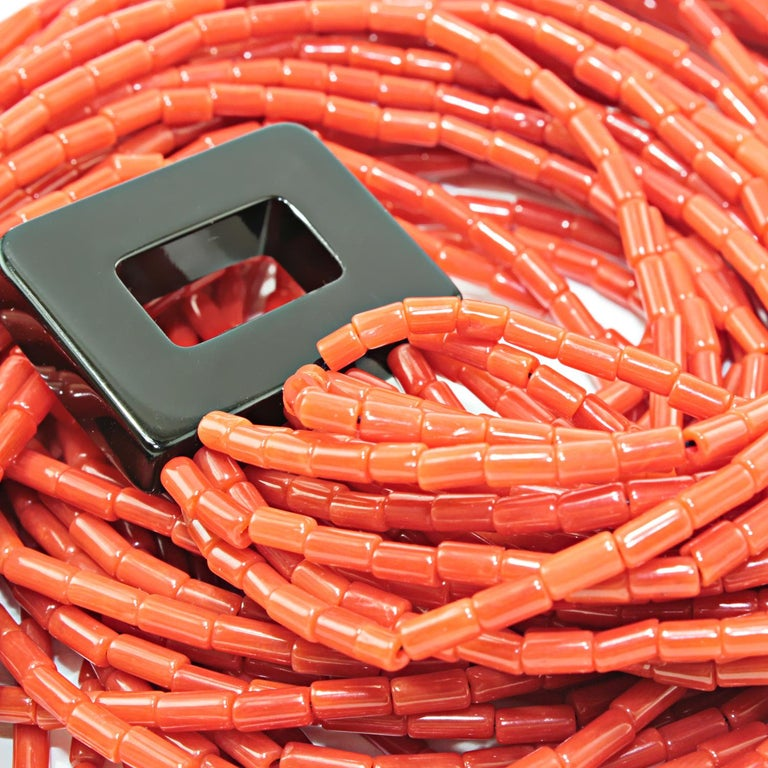 Multistrand necklace realized in red coral and bakelite clasp Red Mediterranean Coral ct. 620 Bakelite clasp Total lenght cm 47 ( including clasp)