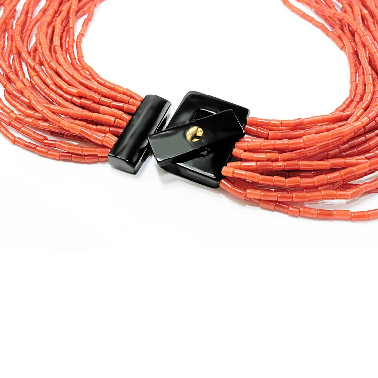 Artisan Multistrand Coral Necklace For Sale