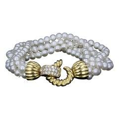 Multistrand Pearl Twist Bracelet with Diamond Closure