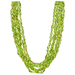 Multistrand Peridot Beaded Torsade Necklace 22k Gold Accents and 14k Gold Clasp