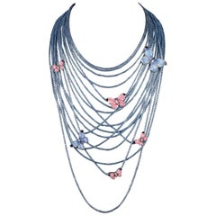 Multistrand Silver Handmade Necklace Adorned with Butterfly Decorated NanoMosaic