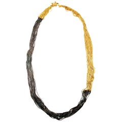 Multithread Necklace in Two Tones 18 Carat Gold Plated from IOSSELLIANI