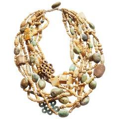 Multi Strand Necklace Jade Bone Antiques Chinese Elements Turquoise