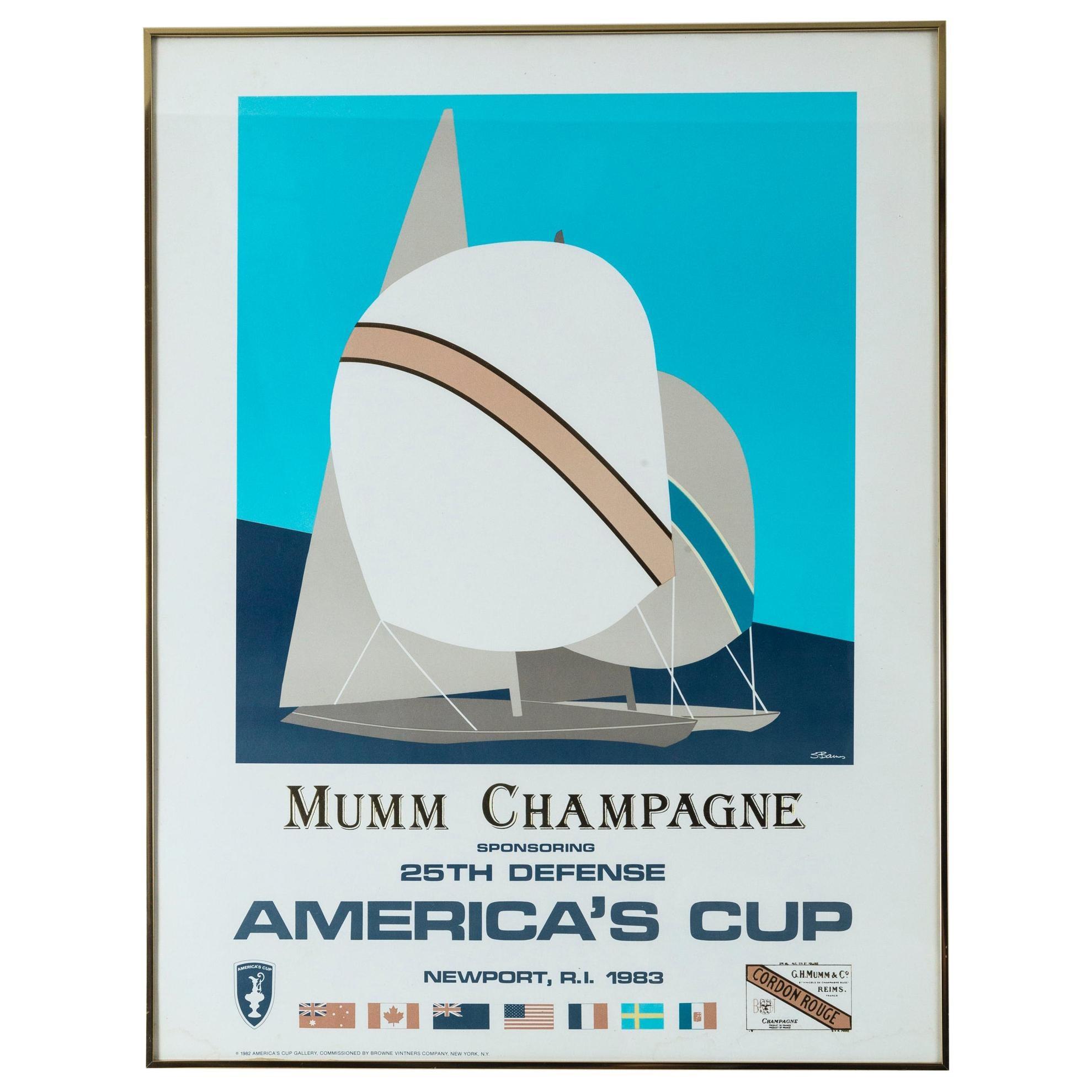 Mumm Champagne America's Cup Poster, Newport, Rhode Island, 1983