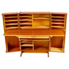 Mummenthaler and Meier Teak 'Magic Box' Fold Out Secretary Desk and Cabinet