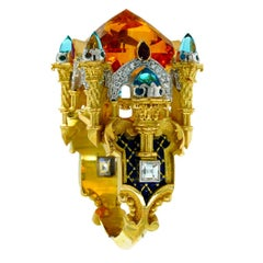 Mumtaz Mahal Ring 18kt Yellow & White Gold, Carved Citrine, Topaz, Ruby, Diamond