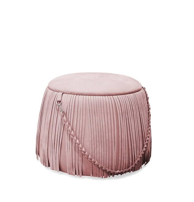 Mumu Pouf Round Velvet Ottoman With Leather Handle And