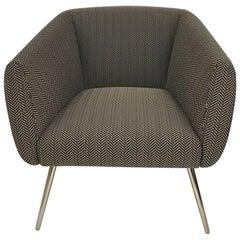 Mundo Black and White Herringbone Fabric Armchair Polished Chrome Legs by Leolux