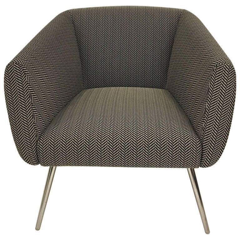 Mundo Black and White Herringbone Fabric Armchair Polished Chrome Legs by Leolux For Sale