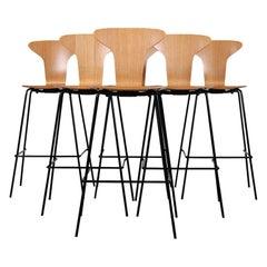 Arne Jacobsen Style 'Munkegaard' Bar Height Stools made in Sweden. C.1990