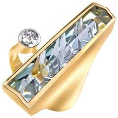 Munsteiner Exceptional Bi-Color Green Tourmaline Spirit-Cut White Diamond Ring