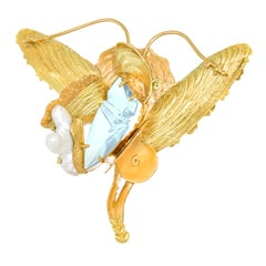 Munsteiner Fantasy Cut Aquamarine in a Margaret Barnaby Gold Brooch