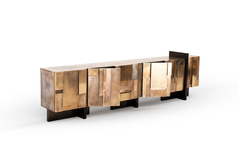 Modern MUR, 21st Century Unique Contemporary Brass Large Freestanding Sideboard For Sale