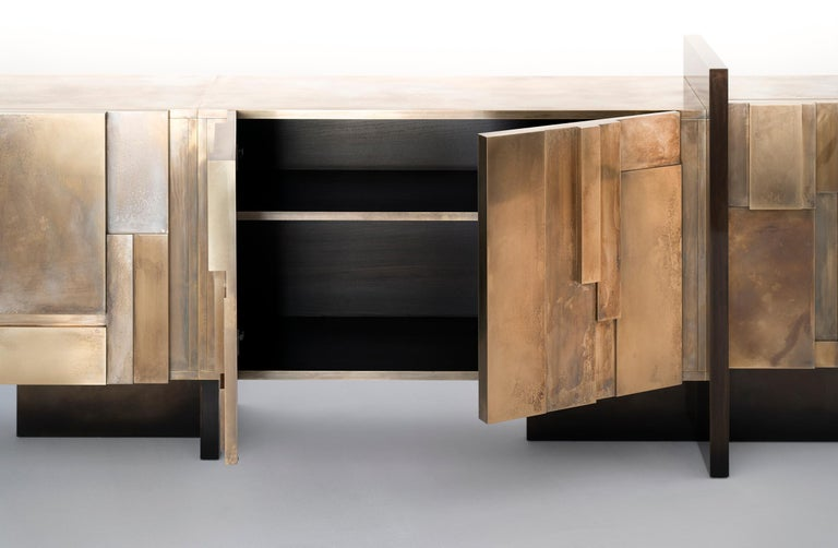 Blackened MUR, 21st Century Unique Contemporary Brass Large Freestanding Sideboard For Sale