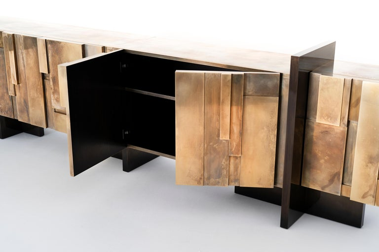 Lacquer MUR, 21st Century Unique Contemporary Brass Large Freestanding Sideboard For Sale