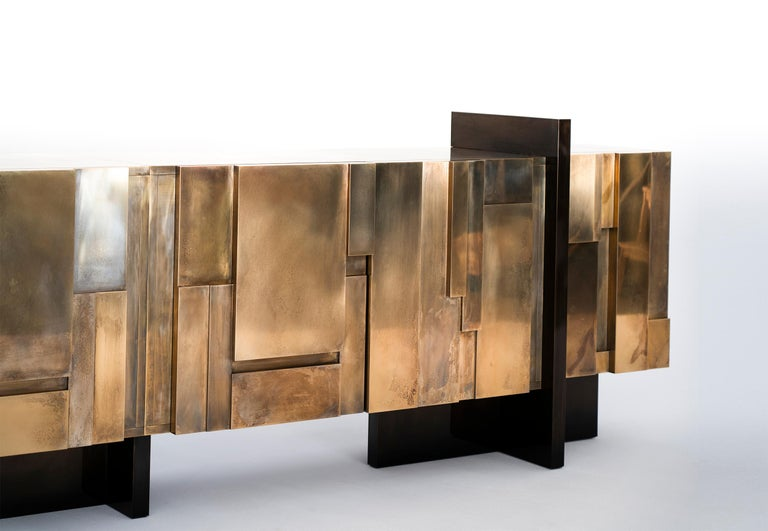 MUR, 21st Century Unique Contemporary Brass Large Freestanding Sideboard For Sale 1