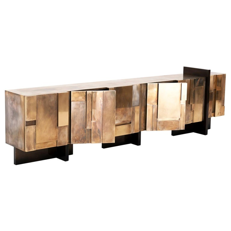 MUR, 21st Century Unique Contemporary Brass Large Freestanding Sideboard For Sale