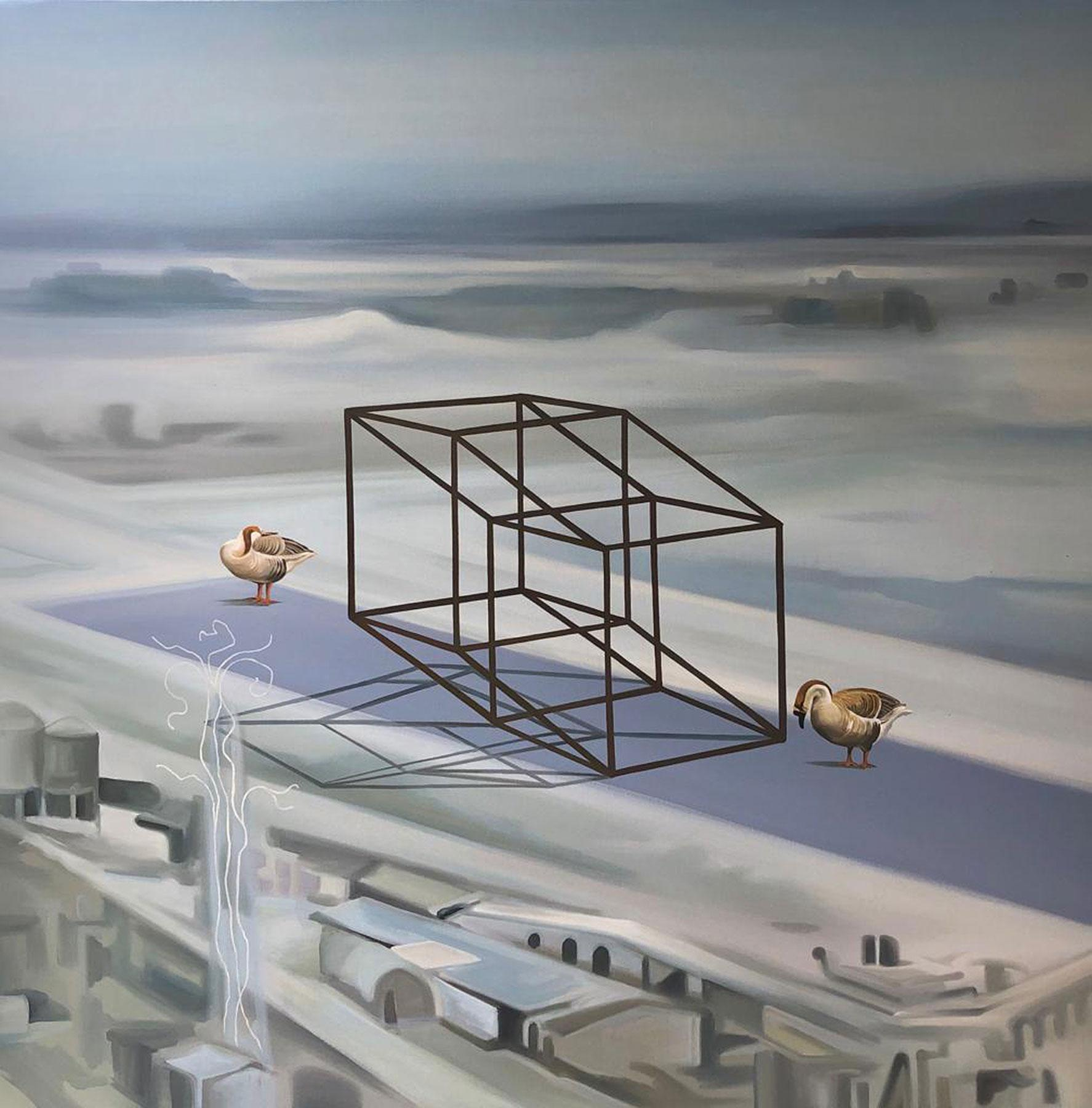 """Terrestrial Verses II , Snow Covered City Scape, Grey Blue,Oil Canvas """"In Stock"""""""