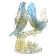 Murano 1950s Blue Gold Flecks Italian Art Glass Birds on Branch Sculpture