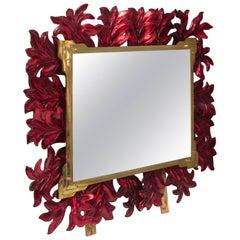 Murano Red Glass and Brass Midcentury Mirror, 1970