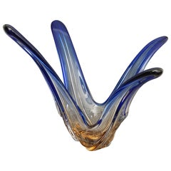 Murano Abstract Blue Glass Table Sculpture by Murano, 1970s