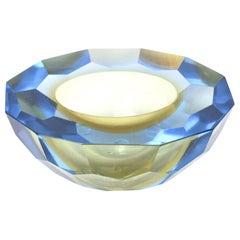 Murano Alessandro Mandruzzato Diamond Faceted Sommerso Geode Bowl