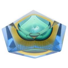 Murano Alessandro Mandruzzato Sommerso Star Green, Blue Glass Bowl Vintage