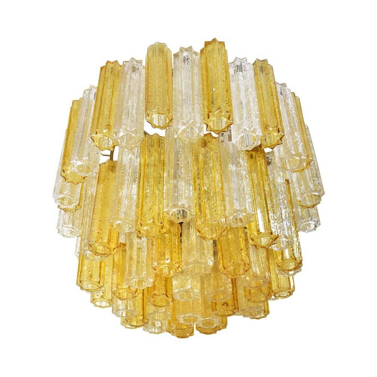 Mid-Century Modern Murano Amber and Clear Tronchi Chandelier Venini Style For Sale