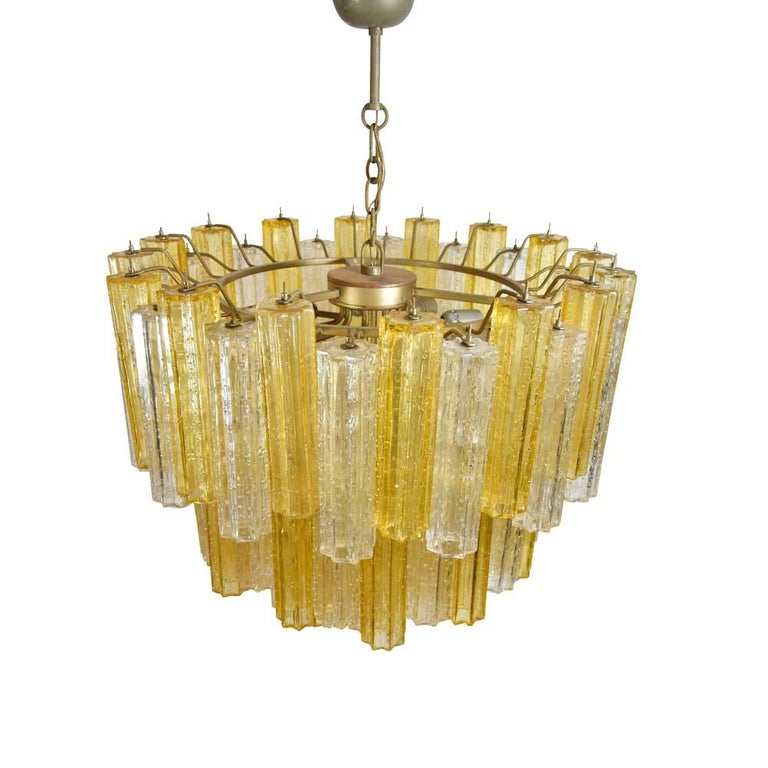 Italian Murano Amber and Clear Tronchi Chandelier Venini Style For Sale