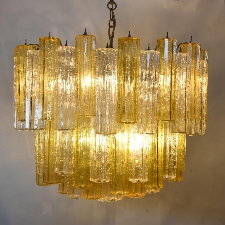 Mid-20th Century Murano Amber and Clear Tronchi Chandelier Venini Style For Sale